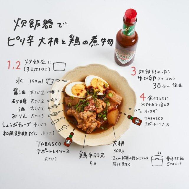 【TABASCO®残り物アレンジ】  もち おえかきレシピ (@__mo_chi) との初コラボレーションから生まれた、おうちでも簡単に作れるTABASCO®ソースを使った残り物アレンジ第三弾!  炊飯器で作る和風料理にスモーキーなTABASCO®チポートレイソースを加えれば、スモーキーな風味が全体に味が染みて更に美味しくなります。 . . . . . #タバスコ残り物アレンジ #タバスコ #世界をちょっピリおいしく #チポートレイソース #残り物 #残り物ごはん #残り物アレンジ #残り物弁当 #おうちごはん #炊飯器 #炊飯器レシピ #煮物 #大根 #鶏肉