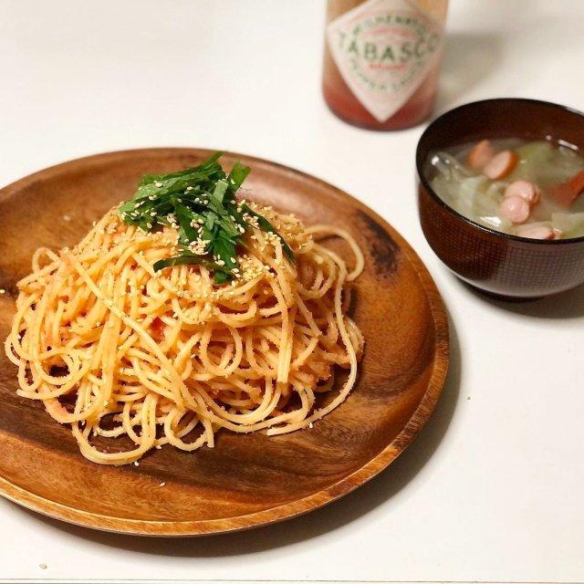 今日のメニューは、和風明太子パスタ!  📸 @cookingmaro さん  ハッシュタグ「#タバスコ」であなただけのTABASCO®ソースの楽しみ方をシェアしてみてください。もしかしたらTABASCO® Brandの日本公式アカウントに掲載されるかも? . . . . . #タバスコ #おうちごはん #パスタ #和風パスタ #おうちカフェ #和風 #明太子 #味噌汁